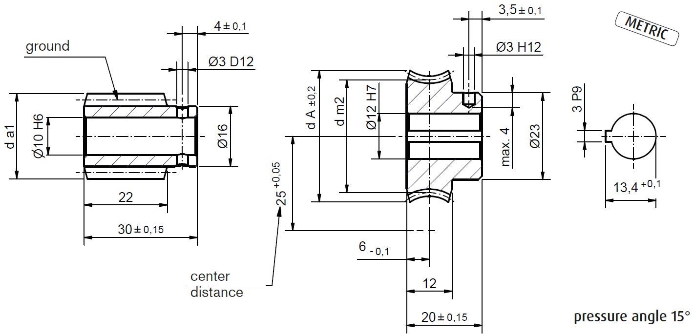 Dimensional drawing Worm Gear Set A25