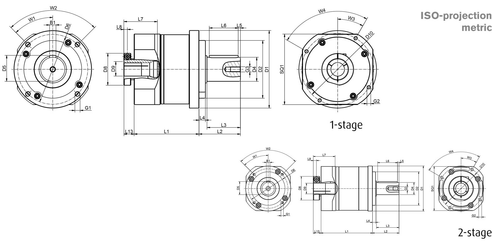 Planetary gear GSF dimensions