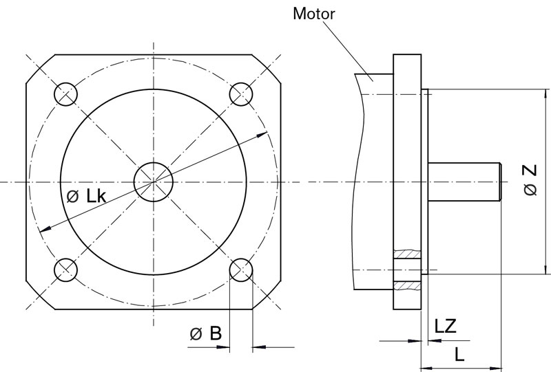 Motor flange for planetary gears - rendering