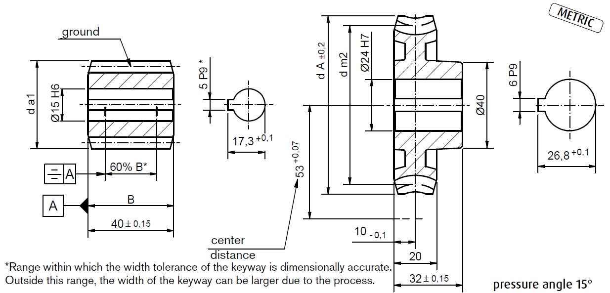dimensions Worm Gear Sets A53